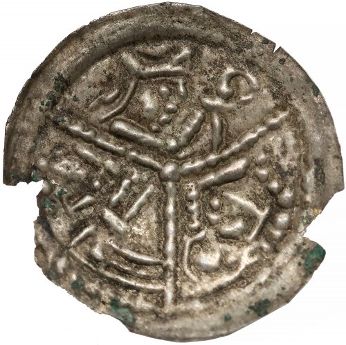 Wielkopolska, Mieszko III (?), Brakteat Gniezno - 3 popiersia - król / książę / biskup - RZADKOŚĆ