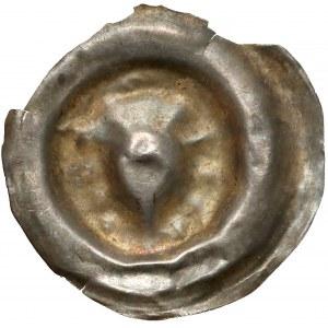 Brakteat guziczkowy (XIII/XIV w.) - Głowa w Koronie