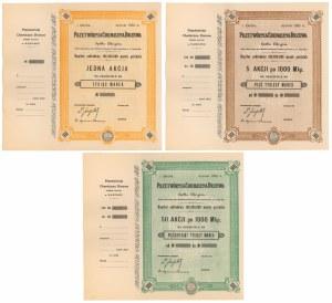 Przetwórnia Chemiczna Drzewa, Em.1, 1.000 mk, 5x i 10x 1.000 mk - blankiety (3szt)