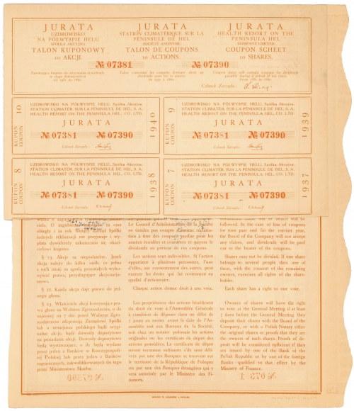Jurata Uzdrowisko na Półwyspie Helu, Em.1, 10x 100 zł 1930