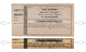 Powstanie Styczniowe, Obligacja tymczasowa 1.000 złotych 1863 - ODWRÓCONY poddruk
