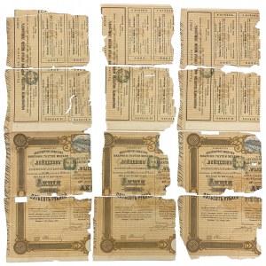 Fragmenty akcji drugiej emisji 500 rub 1900 Akc. Tow. Fabryki Mebli Giętych
