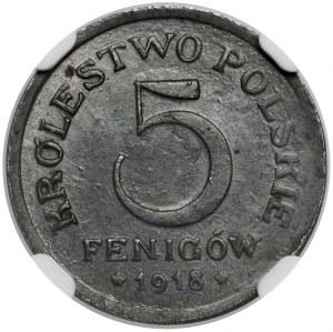 Królestwo Polskie, 5 fenigów 1918
