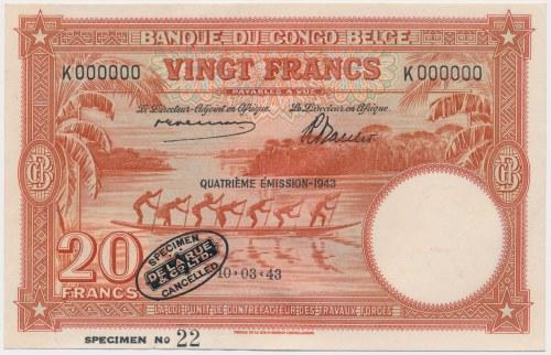 Kongo Belgijskie, 20 francs 1943 SPECIMEN No.22