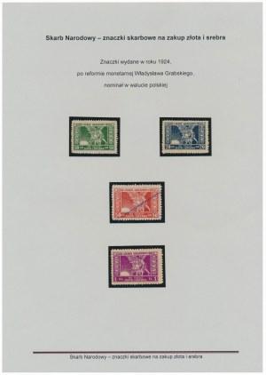 Znaczki na Skarb Narodowy, waluta złotowa, od 10 gr do 1 zł KOMPLET (4szt)