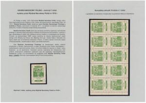 Wydział Narodowy Polski 1918, arkusz 1 dolar - nominał w kolorze zielonym