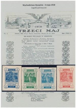 Wychodźctwo Ojczyźnie 3 maja 1918, znaczki 2, 5, 10 i 25 dolarów (4szt)