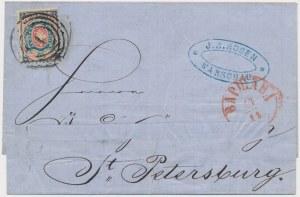 Obwoluta listu opłaconego pierwszym polskim znaczkiem nadanego z Warszawy do S. Petersburga 14 listopada 1861