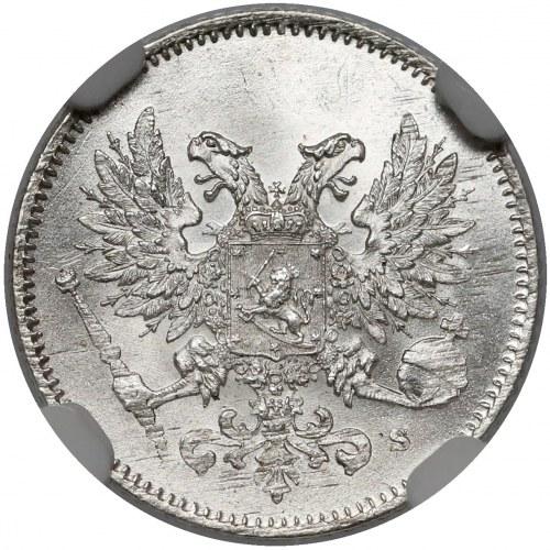 Finlandia / Rosja, Mikołaj II, 25 penniä 1917 - piękne