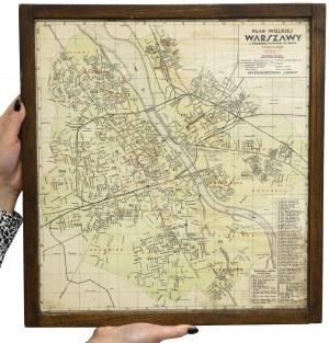 Plan Wielkiej Warszawy - przedwojenna mapa z 1936/7 roku w ramie