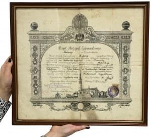 Dyplom rzemieślniczy, Urząd Starszych Zgromadzenia MALARZY, Częstochowa 1926 r.