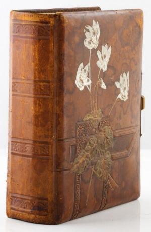 ALBUM Z FOTOGRAFIAMI PORTRETOWYMI RODZINY JANISZEWSKICH, ok. 1900, Oprawa skórzana z tłoczeniami, barwiona, 21 x 17 cm, zamykana na mosiężną klamrę