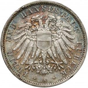 Niemcy, Lubeka, 3 marki 1908-A