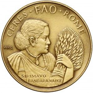 Włochy, Medal ZŁOTO Sirimavo Bandaranaike FAO Ceres - Rzym