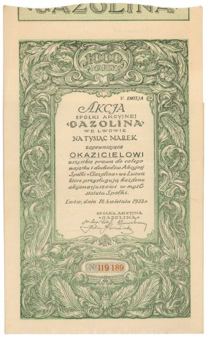 Gazolina we Lwowie, Em.5, 1.000 mkp 1923