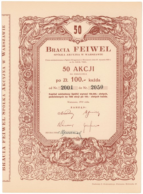 Bracia Feiwel, 50x 100 zł 1931