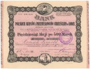 Bank Polskich Kupców i Przemysłowców Chrześcijan w Łodzi, Em.4, 50x 500 mkp 1922