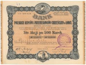 Bank Polskich Kupców i Przemysłowców Chrześcijan w Łodzi, Em.5, 100x 500 mkp 1923