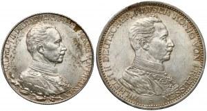 Niemcy, Prusy, 2 marki 1913 i 3 marki 1914 (2szt)