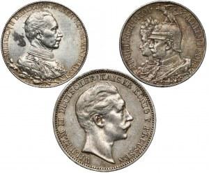 Niemcy, Prusy, 2 i 3 marki 1901-1913 (3szt)