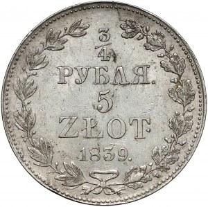 3/4 rubla = 5 złotych 1839 MW, Warszawa - duże oczka