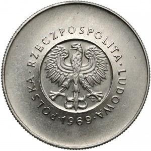 Próba NIKIEL 10 złotych 1969 XXV lat PRL - duże napisy