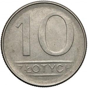Destrukt 10 złotych 1987 - wyraźne niedobicie otoku