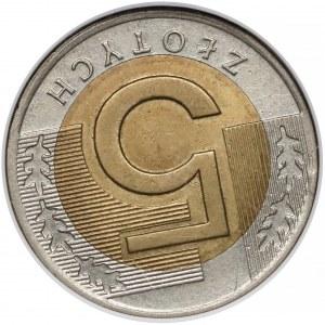 Destrukt 5 złotych 1994 - skrętka (~170 stopni)