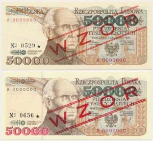 50.000 złotych 1989-1993 - WZÓR - KOMPLET roczników (2szt)