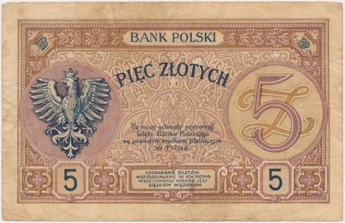 5 złotych 1919 - seria trzycyfrowa - S.100 A - RZADKOŚĆ