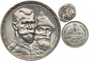 Rosja, Mikołaj II, 5 kopiejek 1911 i Rubel 1913 + łezka (3szt)