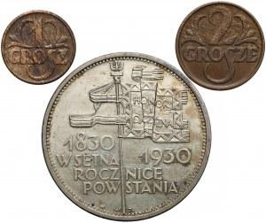 5 złotych Sztandar, 1 i 2 grosze 1928-30 (3szt)