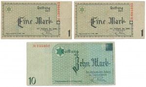 Getto 2x 1 marka i 10 marek 1940 (3szt)