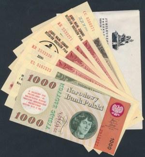 Zestaw banknotów 50-1.000 zł 1948-65 z nadrukami (7szt) + koperta