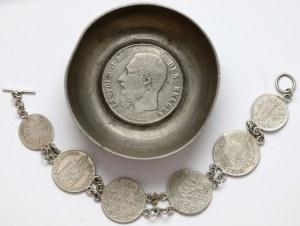 Miseczka i bransoletka z monetami (2szt)