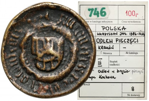 Odlew pieczęci Biskupa krakowskiego czasów Wł. Jagiełły