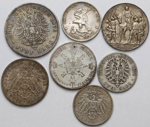 Niemcy, Prusy, od 2 marek do talara 1861-1913 (7szt)