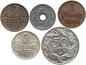 II RP, GG, Gdańsk, zestaw monet 1923-1939 (5szt)