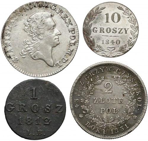 Złotówka 1767, Grosz 1812, 2 złote 1831 i 10 groszy 1840 (4szt)
