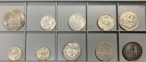 Świat, zestaw srebrnych monet MIX (10szt)