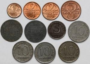 II RP, Gdańsk, KP, zestaw monet (11szt)