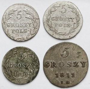 5 groszy 1811-1840, zestaw (4szt)