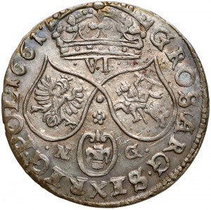 Jan II Kazimierz, Szóstak Poznań 1661 NG - PIĘKNY