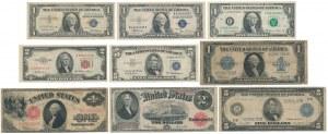 USA, 1, 2 i 5 Dollars 1914-1969 zestaw 9 szt.