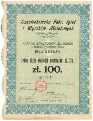 Częstochowska Fabr. Igieł i Wyrobów Metalowych, Em.3, 100 zł 1929