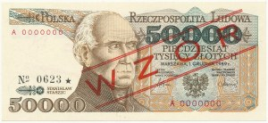 50.000 złotych 1989 - WZÓR - A 0000000 - No.0623