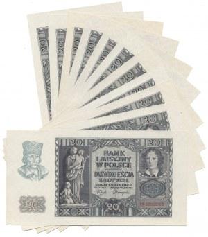 20 złotych 1940 - H - zestaw (11szt)