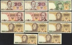 Zestaw 20, 50, 100 i 500 zł 1982-88 (11szt)