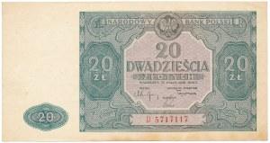 20 złotych 1946 - D - duża litera