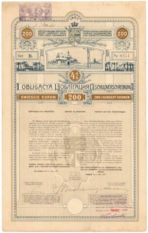 Lwów, Poż. Królestwa Galicyi i Lodomeryi..., Obligacja 200 kr 1908
